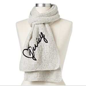 Juicy Couture Gray Embroidered Muffler Scarf NWT